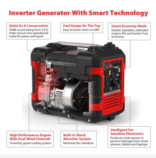 rockpals r2000i 2000 watt inverter generator features